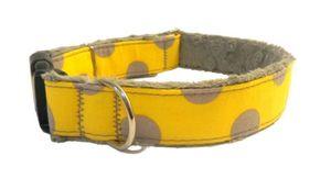 Fellschonendes Hundehalsband Handarbeit hochwertige Materialien Gelb XL/Breite-3 cm Halsumfang-61-80 cm