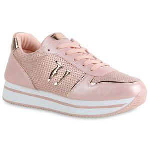 Mytrendshoe Damen Plateau Sneaker Glitzer Turnschuhe Freizeit Schuhe 821774, Farbe: Rosa, Größe: 37