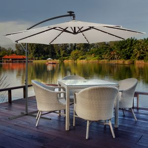 Sonnenschirm Luxus mit LED Beleuchtung Ampelschirm Ø3m Farbe Creme - direkt vom Hersteller