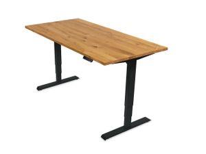 Ergotopia elektrisch höhenverstellbarer Schreibtisch / Ergonomischer Steh-Sitz Tisch mit Memory-Funktion (Eiche Echtholz, 180x80cm, Gestell Schwarz)