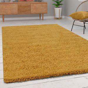 Shaggy Hochflor Teppich Wohnzimmer Langflor Kuschelig Einfarbig In Gelb, Grösse:100x200 cm