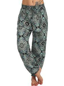 Lässige Lose Baggy Hareem Leggings für Frauen Haremshose Hippie Boho Yogahose,Farbe:Grün,Größe:XL