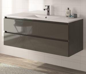 ALLIBERT Badmöbel-Set Badmöbel vormontiert grau Glanz Softclose Waschtisch 120cm