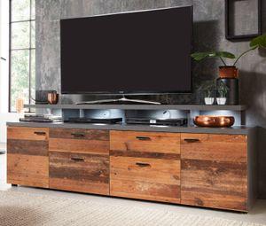 TV-Lowboard Used Wood und grau Vintage / Retro  Board mit Komforthöhe Fernseher Unterteil Mood Shabby Breite 180 cm