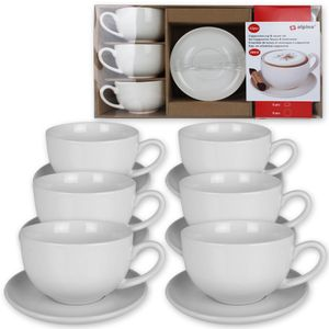 12tlg. Cappuccino Tassen Set Kaffeetassen Cappuccinotassen mit Untertassen weiß