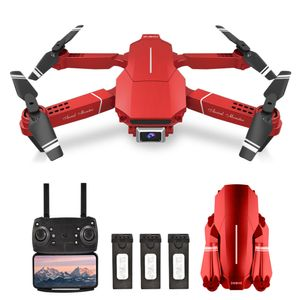 E98 RC-Drohne mit Kamera 4K-Drohne Doppelkamera RC Quadcopter WiFi FPV-Drohne Headless-Modus H?henhaltegeste Fotostrackflug 3D-Filp-Faltdrohne (rot)
