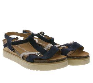 MARCO TOZZI Sandalette verspielte Damen Cork-Sandalen mit Echtleder-Anteil Dunkelblau, Größe:37