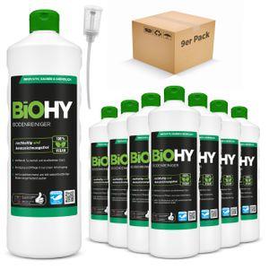 BiOHY Bodenreiniger (9x1l Flasche) + Dosierer | Konzentrat für alle Reinigungsgeräte und alle Hartböden | Angenehmer Geruch und streifenfreie Reinigung