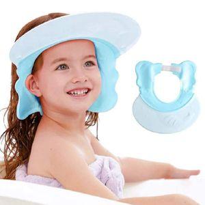 Shampoo Schutz für Kinder,Duschhaube Kinder Badekappe Verstellbar Ohr- und Augenschutz Universal,ab 6 Monate (Blau)