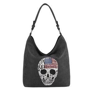 DAMEN TOTENKOPF SKULLS TASCHE Handtasche Shopper Strasssteine USA Flagge Schultertasche Umhängetache Henkeltasche Hobo-Bag Schwarz