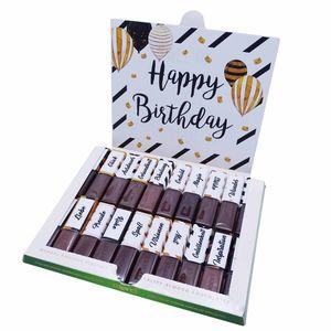 Aufkleber-Set passend für Merci Schokolade zum Geburtstag mit vorgedruckten und blanko Aufklebern I selbstklebend I kreative Geschenk-Idee I Individuell I ohne Schokolade I dv_786