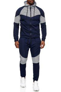 Herren Trainingsanzug Hoodie Sweater Set Casual Streetwear Gym Fashion, Farben:Weiß-Dunkelblau, Größe Hosen:L
