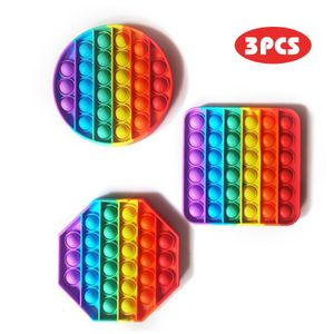 3PCS Regenbogen sensorisches Spielzeug-Set, Push-Blase Popping It Silikon Spielzeug,Angst Stress Reliever Geschenk