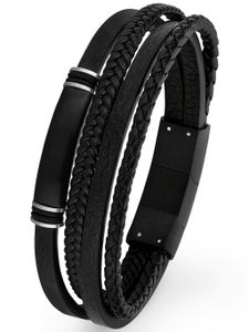 s.Oliver 2026001 Herren Armband Edelstahl Silber schwarz 21,5 cm