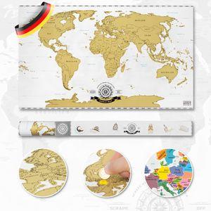 Scrape Off World Map - Scratch Weltkarte zum Rubbeln - Rubbel Landkarte Map Deluxe Poster XXL (82x45cm)