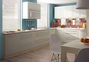 """L-Form Küchenzeile """"Kvantum"""" Einbauküche 270 x 210cm artisan eiche MDF Fronten vanille matt"""