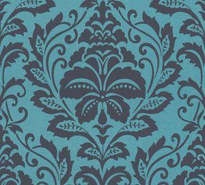 Barock Tapete Profhome 369105-GU Vliestapete glatt im Barock-Stil glänzend blau schwarz grau 5,33 m2