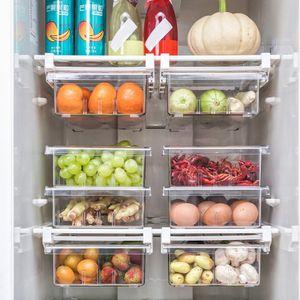 4-Gitter, Lebensmittel frisch aufbewahren Kühlschrank Aufbewahrungsbox Lebensmittelbehälter Mehrzweck-Platzsparer Transparent
