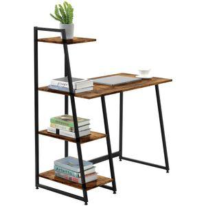 Regal-Schreibtisch Nussbaum-Optik schwarze Metallbeine Computertisch Bürotisch Arbeitstisch PC Tisch Vintagebraun Wohnzimmer