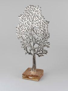 Formano Lebensbaum 62 cm Aluminium mit Mangoholz Dekoration Baum