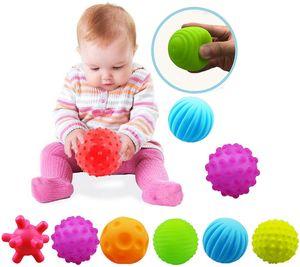 6 Bällen für frühe Entwicklung Gemischte sensorische Bälle   Verschiedene Formen und Farben   Weiches Plastik   Ab 6 Monaten