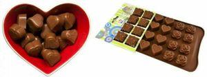GKA Silikon Schokoladenform Pralinenform mit 24 Herz Rose Geschenk Formen Schokolade