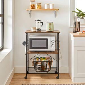 VASAGLE Küchenregal Standregal mit 3 Ablagen Küchenwagen mit Rollen und 6 Haken Gitterablage vintagebraun-schwarz KKS022B01