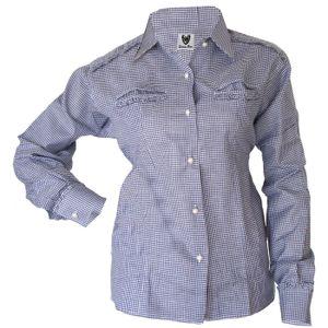 Trachtenbluse Bluse für damen Trachten Lederhose Trachtenmode Blau karo, Größe:46