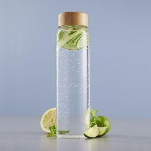 Glaskaraffe mit Bambus-Deckel 1 Liter Ø8x30cm