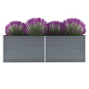 Garten-Hochbeet Verzinkter Stahl 240x80x77 cm Grau