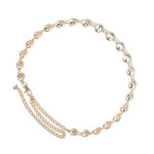 Kristall Kettengürtel Taillengürtel Fashion und moderne Strass Taillen Kette Gürtel Metallkette für Damen Farbe Gold