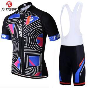Radfahren Set MTB Bike Wear Bekleidung Fahrradbekleidung Racing Radtrikot -(Jersey und Latzhose,XL)