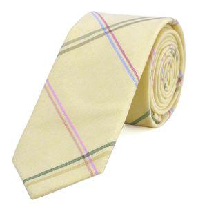 DonDon Herren Krawatte 6 cm gestreift Baumwolle pastell-gelb