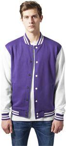 Urban Classics 2-tone College Sweatjacket, Farbe:pur/wht, Größe:XL