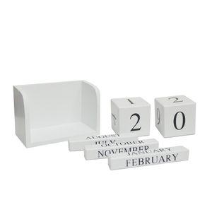 Tischkalender Kalender Dauerkalender Holz Würfelform Bürokalender Küchenkalender (Weiß)