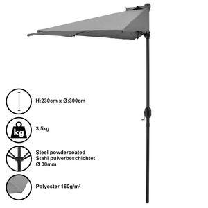 Halbschirm Halb-Sonnenschirm Balkonschirm Marktschirm Kurbelschirm Schirm Halbrund Grau / 230x150cm / 3,5kg / Stahl / Polyester 160g/m² [casa.pro]