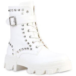 VAN HILL Damen Stiefeletten Schnürstiefeletten Nieten Schnallen Schuhe 837669, Farbe: Weiß, Größe: 38