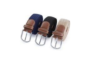 SPACEFLIGHT 3er Set elastische Gürtel, 3x geflochtene Herrengürtel mit silberner Schnalle, Modische Stretchgürtel in 3 Farben, 104 cm, bis 114-120 cm dehnbar