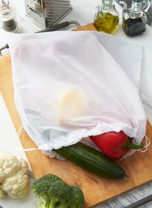 15 x Gemüsenetz 37 x 37 Einkauftasche waschbar Meshtaschen Obst Gemüsebeutel BWI