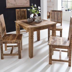 WOHNLING Esszimmertisch WL5.077 Braun 80 x 80 x 76 cm Mango Massivholz   Design Landhaus Esstisch Massiv   Tisch für Esszimmer Quadratisch   Küchentisch für 4 Personen   Holztisch Rustikal Klein