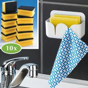 WENKO Schwammbox inkl.10 Schwämme, Spülschwämme Schwammhalter selbstklebend weiß