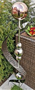 Skulptur Merkur golden rose poliert Edelstahl 150 cm Beetstecker Gartenstecker Rosenkugel