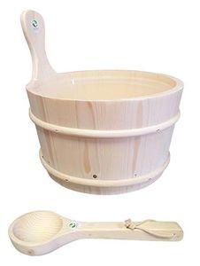 SudoreWell®  Saunakübel Saunaeimer aus Pinienholz 4,0 l inkl. Einsatz + Kelle Plus 10g Mentholkristalle