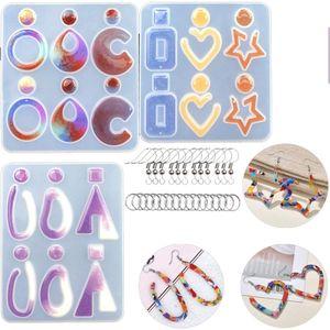 Silikonharzformen Ohrring, 123 Stück DIY Silikon Formen Werkzeug inkl. Ohrring-Haken Binderinge für DIY Frauen Ohrringe