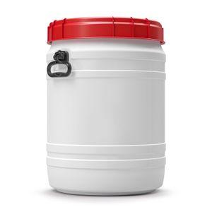 64 Liter Weithalsfass Tonne Drehdeckelfass Schraubdeckelfass weiß (64 CT SW)
