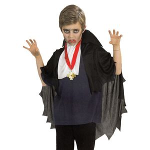 Kinder Halloween Vampir Kostüm-Set (Umhang, Jabot und Amulett) Gr.140