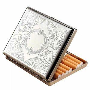 Edelstahl Geschnitzte Zigarettenetui für 20 Zigaretten Etui Aufbewahrungsbox