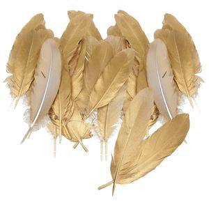 60x Natürliche Gänsefeder DIY Hochzeitsfeier Nachbildung Kunsthandwerk 15 20cm Gold
