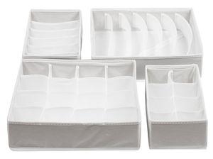 Schubladen Organizer 4er Set, 32x32x9 cm, weiß