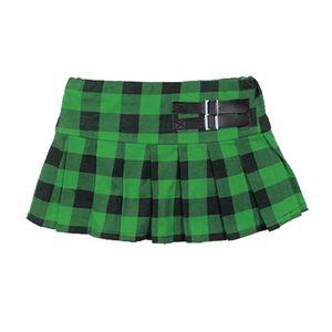 LD New York Mädchen Rock im Grün Schwarzen Schottenmuster